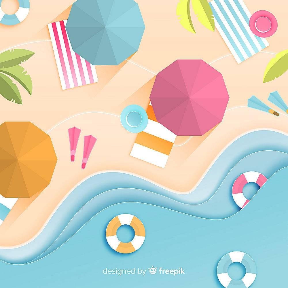 图纸样式的海滩俯视图_4650490