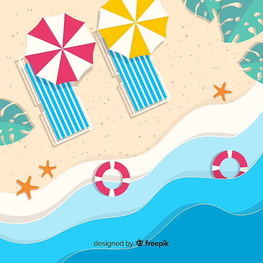 图纸样式的海滩俯视图_4664366