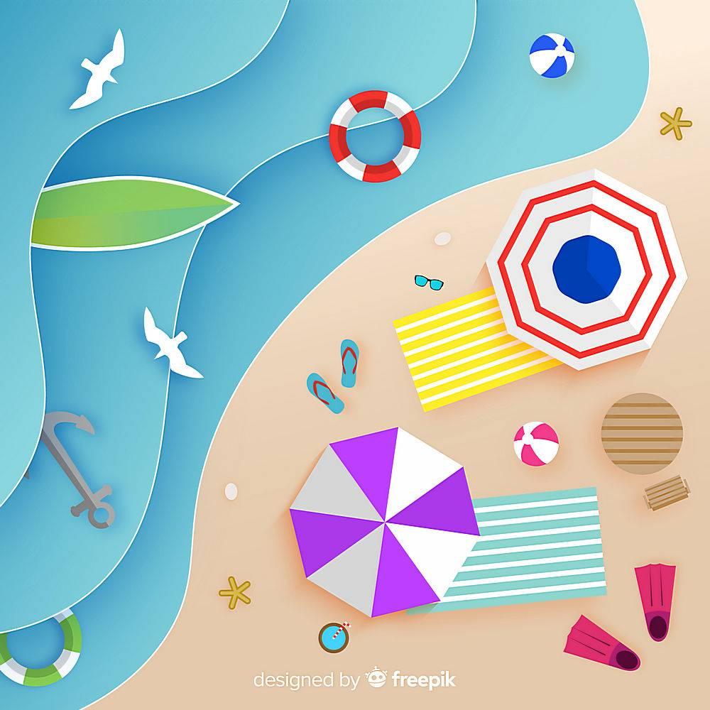 图纸样式的海滩俯视图_4664369