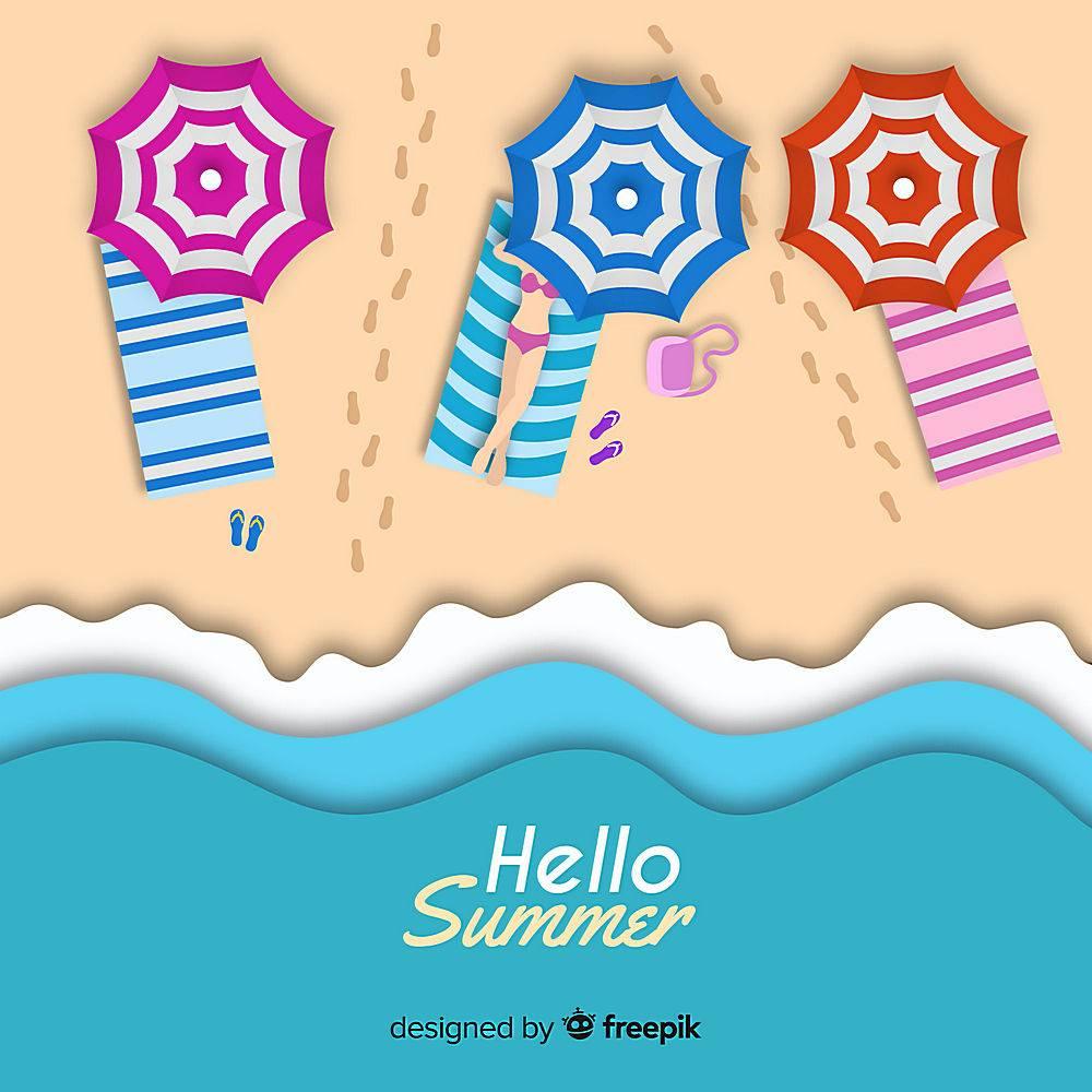 图纸样式的海滩俯视图_4664371