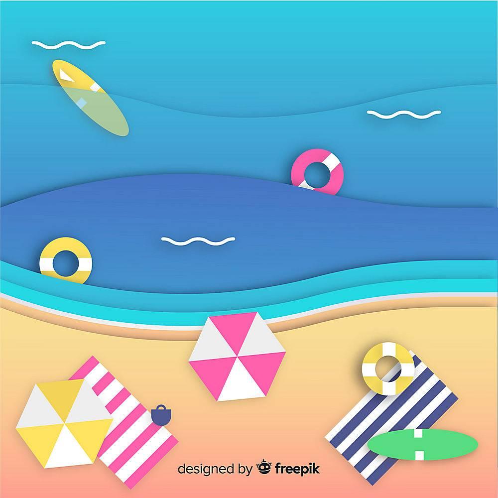 图纸样式的海滩俯视图_4664378
