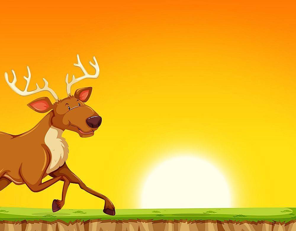 在日落后奔跑的驯鹿_4228321