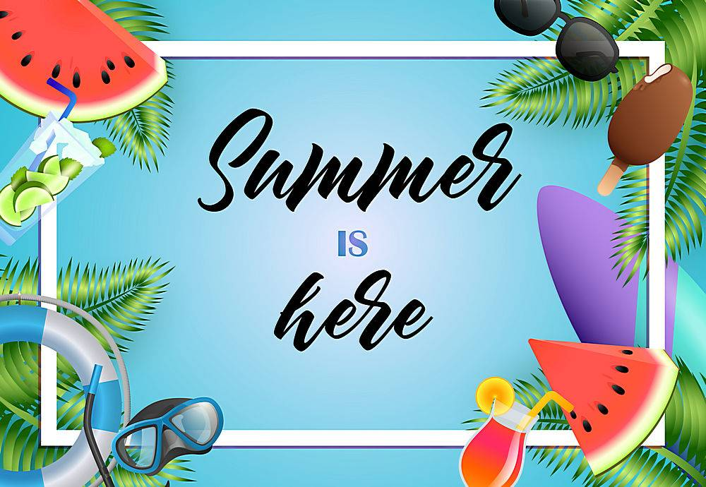 夏天到了海报设计亮丽冰激凌潜水面罩_4558986