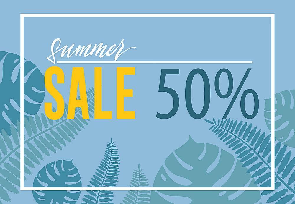 夏季促销50的海报蓝色背景上的热带树叶_2766953