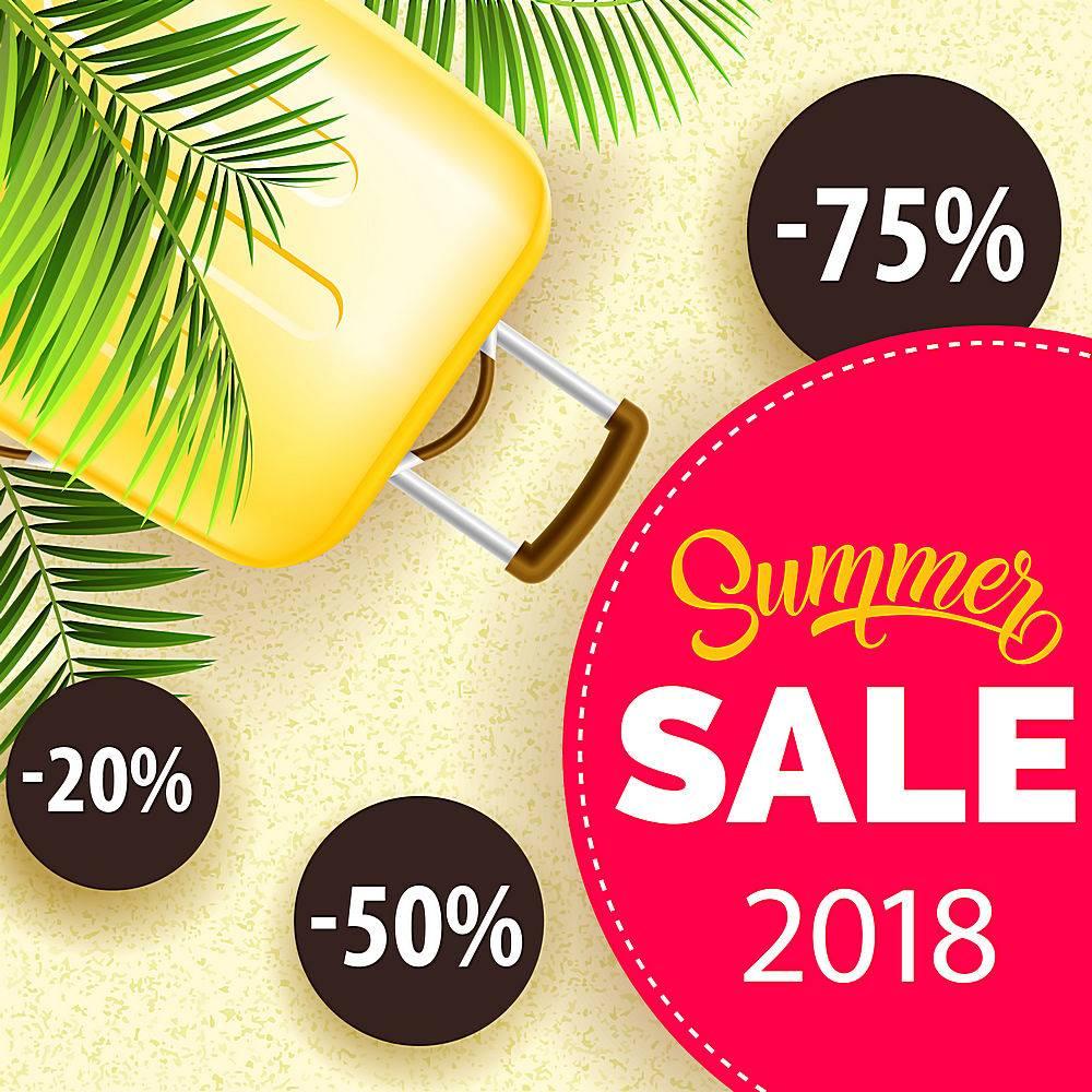 夏季促销二十八张海报印有棕榈叶黄色旅_2542105
