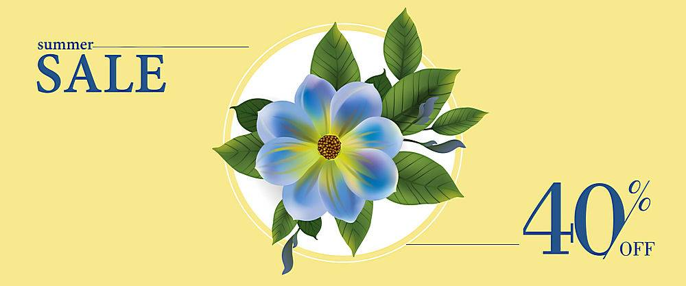 夏季促销打四折圆框内有蓝色花叶的锦旗_2541763