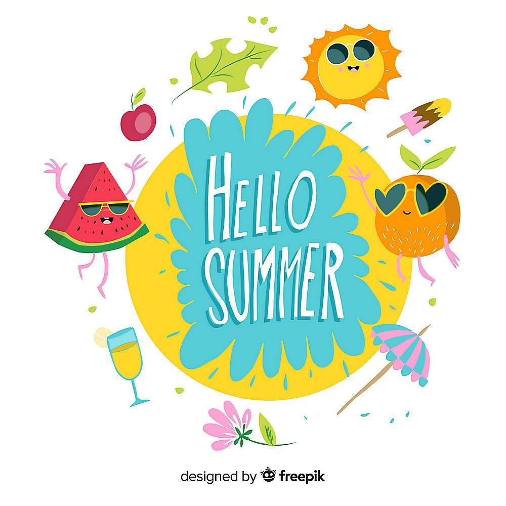 手绘你好夏日背景_4299904