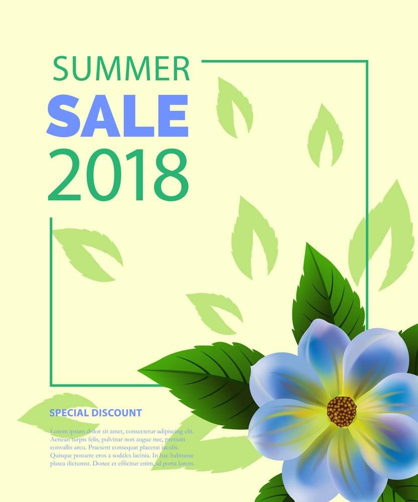 夏季大减价用蓝色花朵框上的字样夏季优_2766955