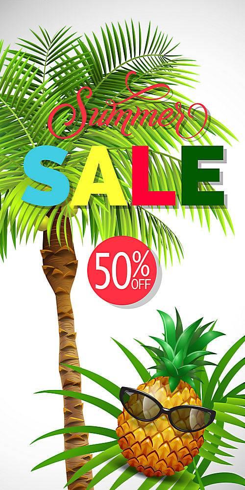 夏季打折印有棕榈树的字样打五折夏季优_2541762