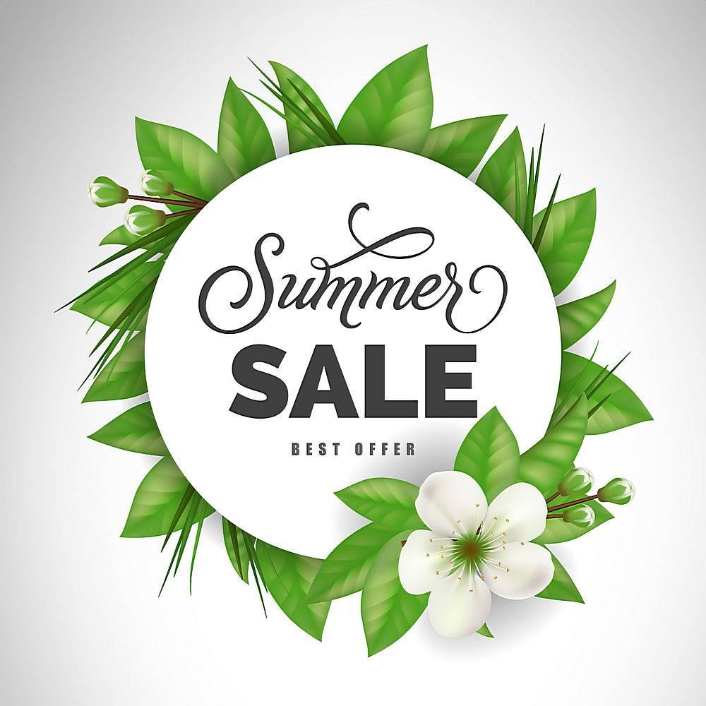 夏季特价优惠请用白花围成一圈打折提供_2438901