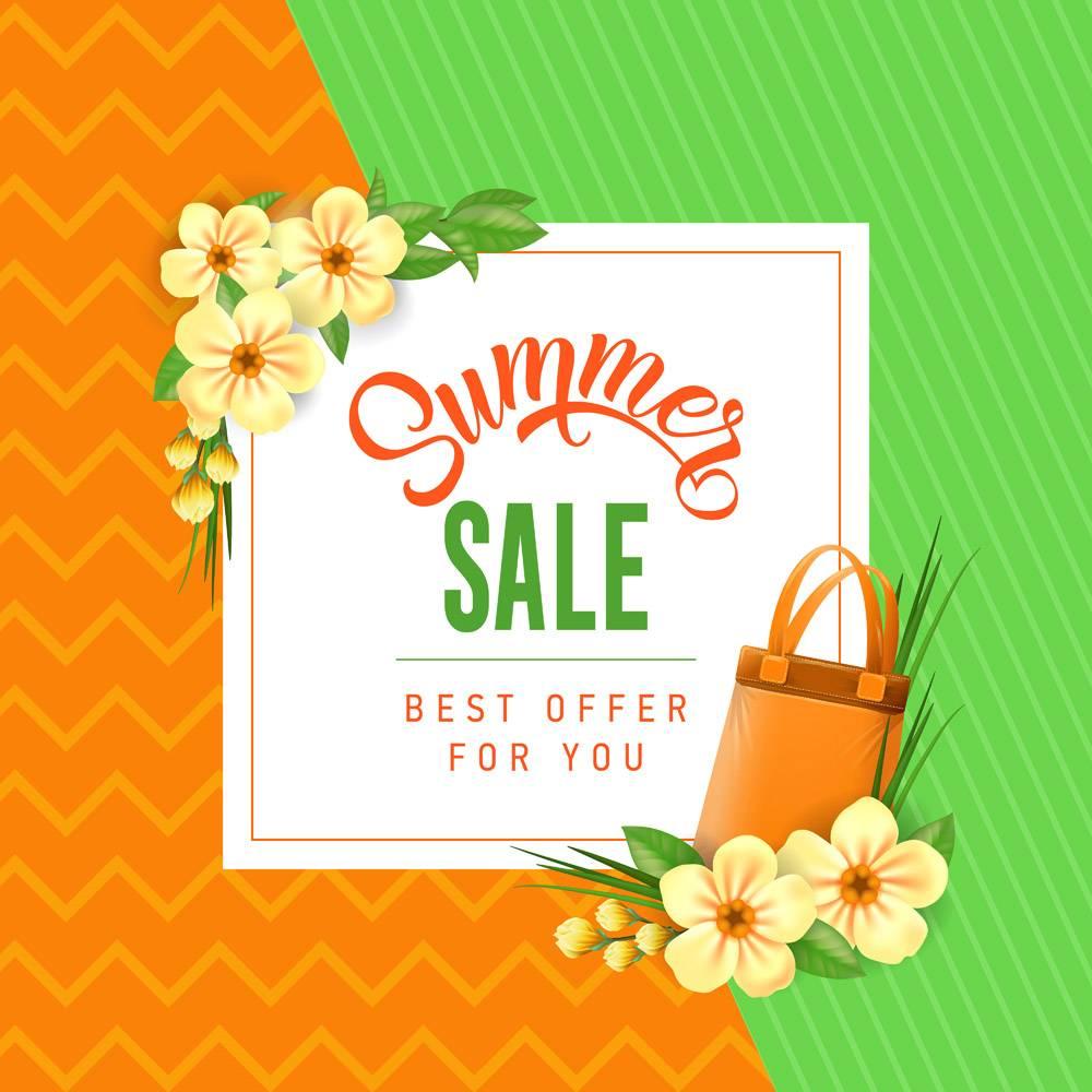 夏季特卖会为您提供印有袋子和鲜花的最优惠_2438898