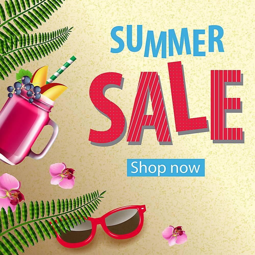 夏季特卖店现在的海报上有粉色的鲜花墨镜_2542096