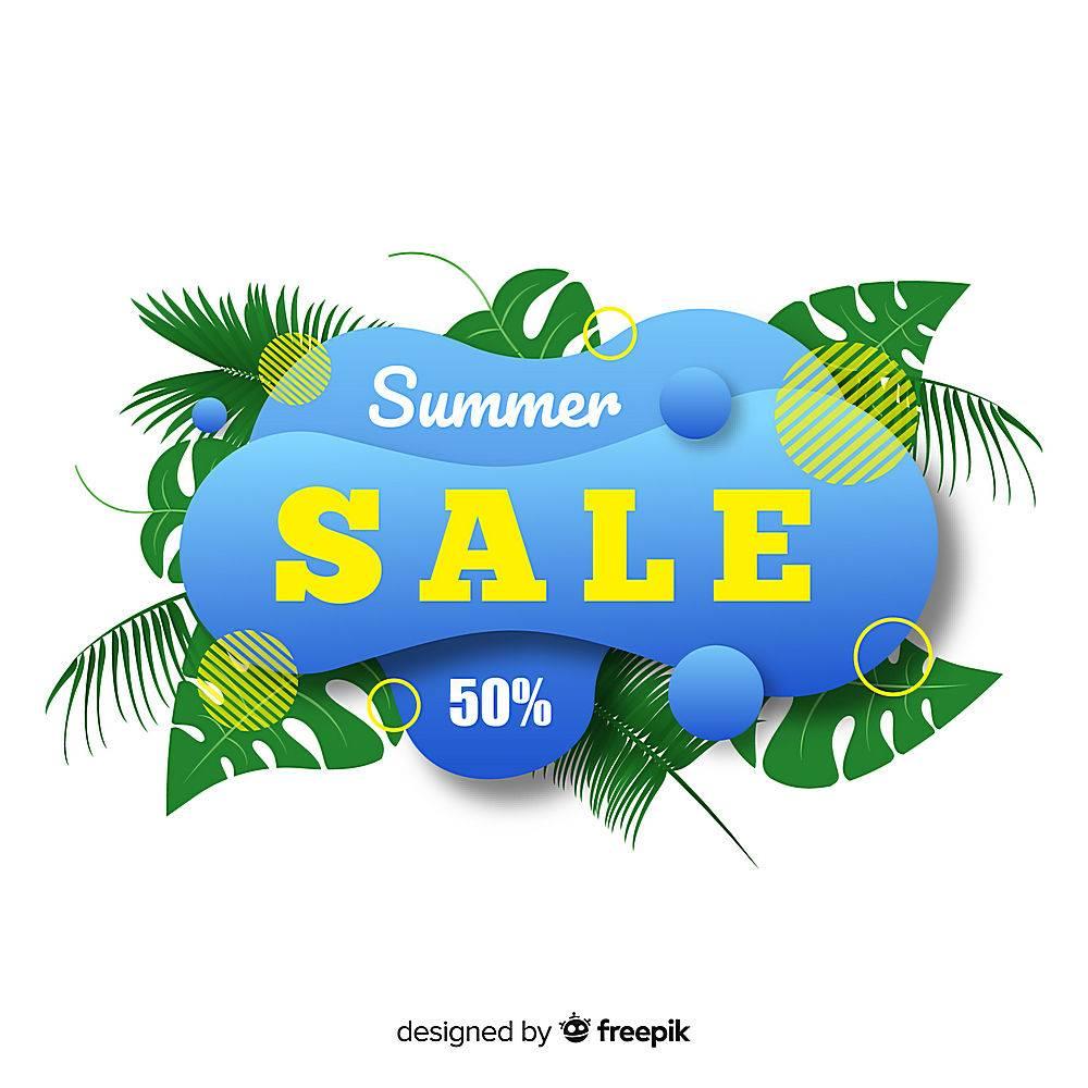 夏季特卖液形状和热带树叶背景_4651350