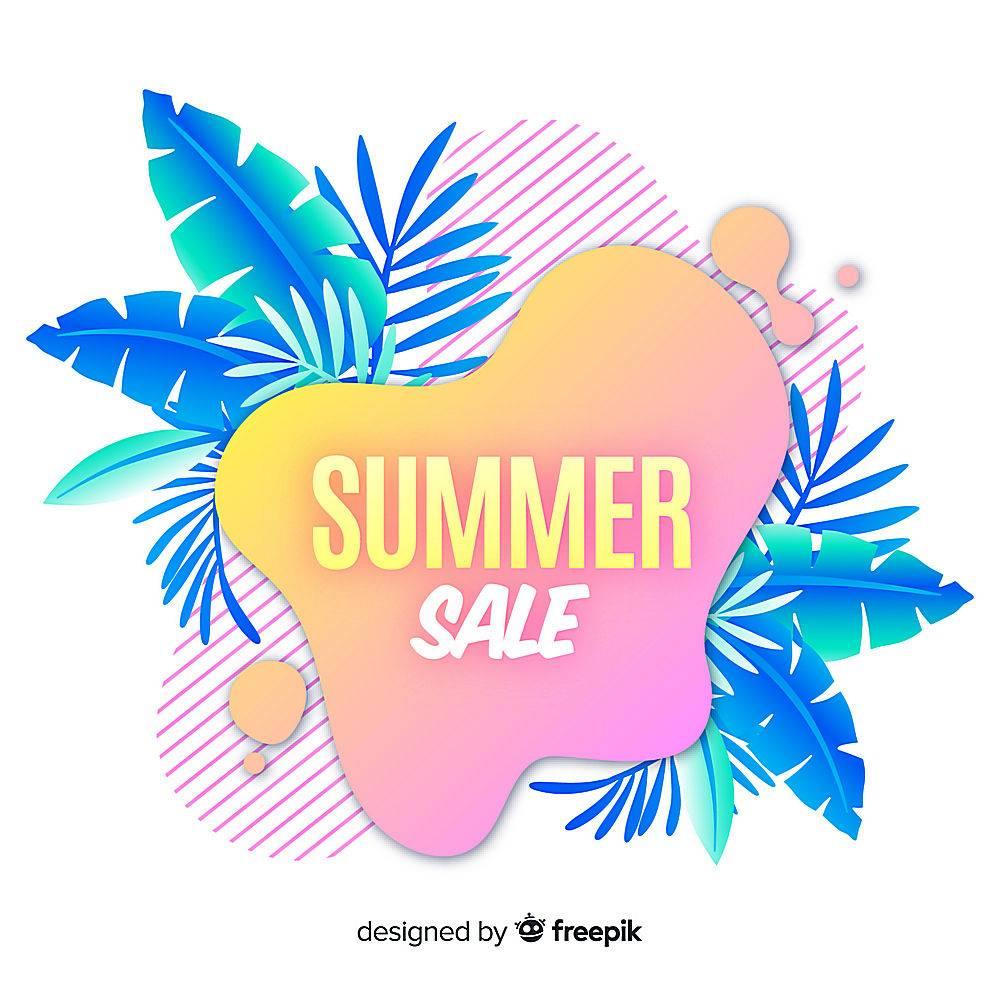 夏季特卖液形状和热带树叶背景_4651361