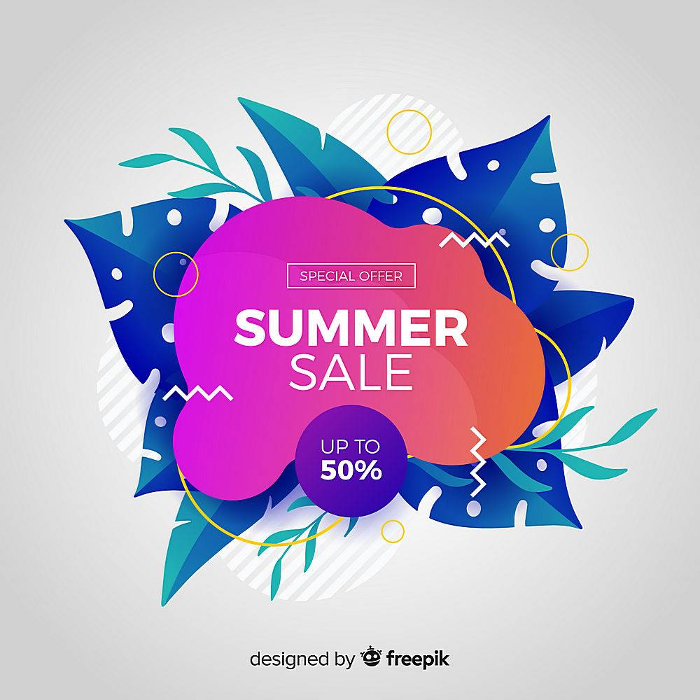 夏季特卖液形状和热带树叶背景_4651371