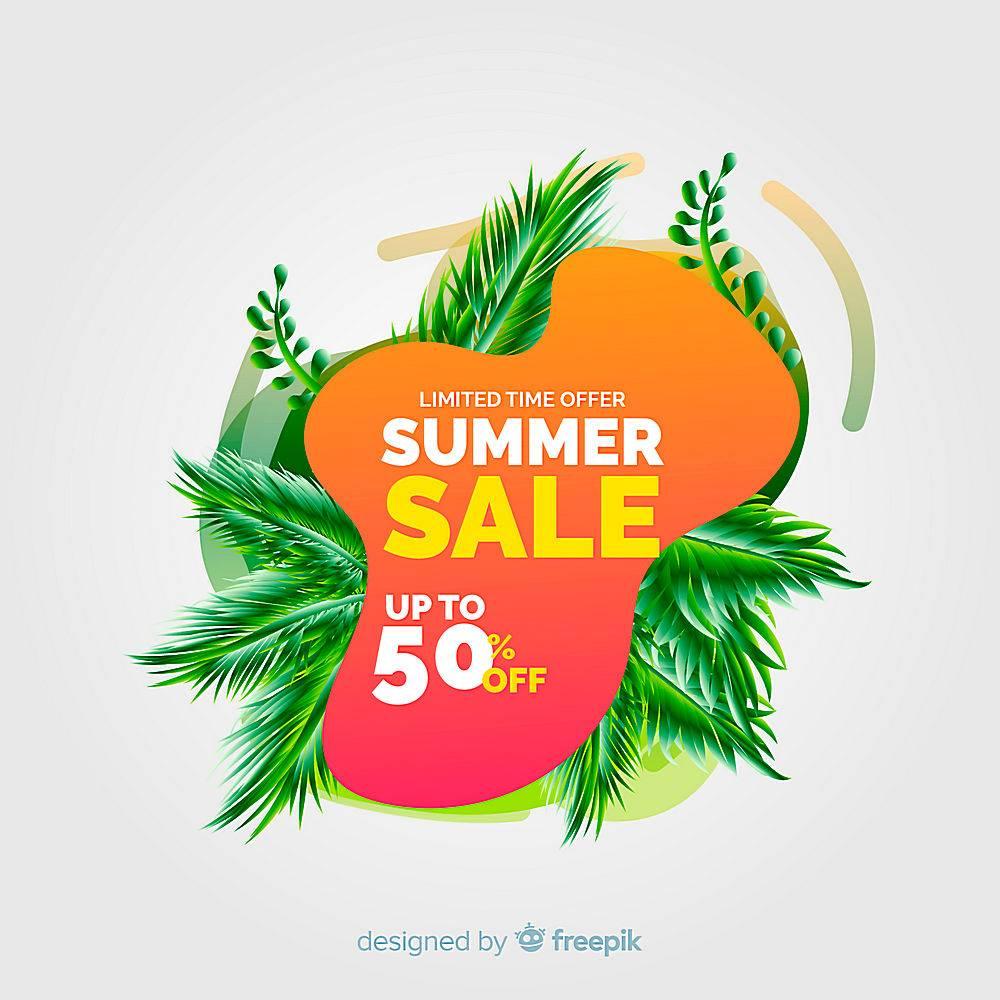 夏季特卖液形状和热带树叶背景_4651372