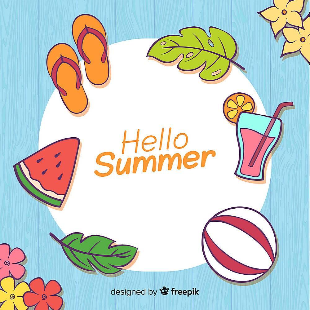 夏季背景手绘元素_4525103
