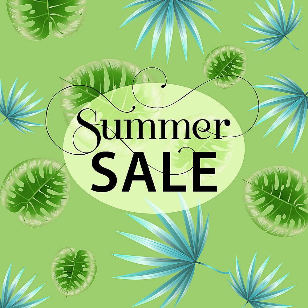 夏季销售热带树叶图案的绿色宣传海报_2766954