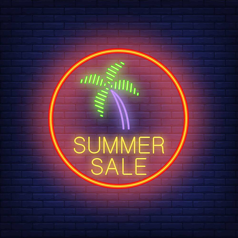夏季销售霓虹灯文字和红圈内的棕榈树季节_2767086