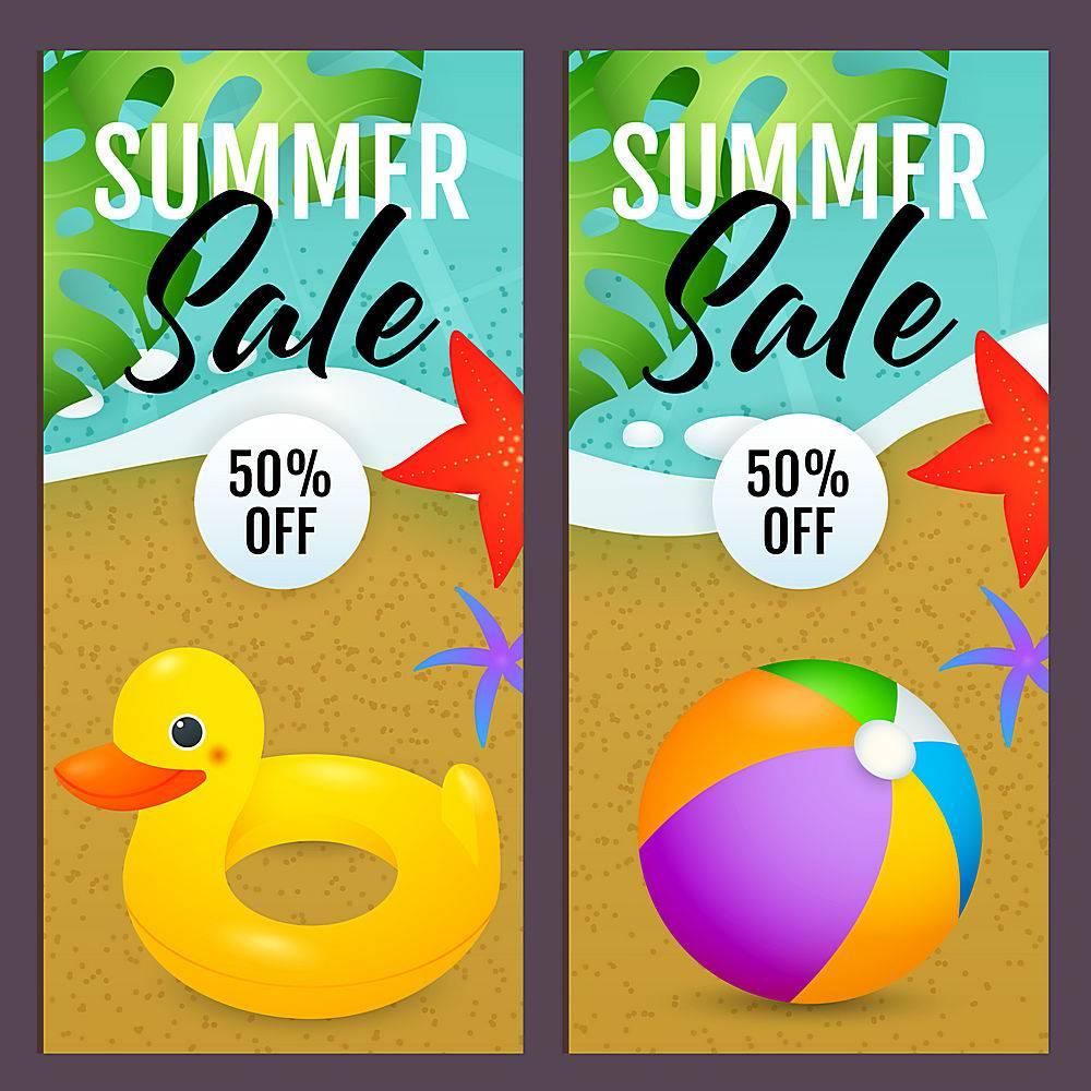 夏日促销信纸内嵌沙滩球和泳环_4561264