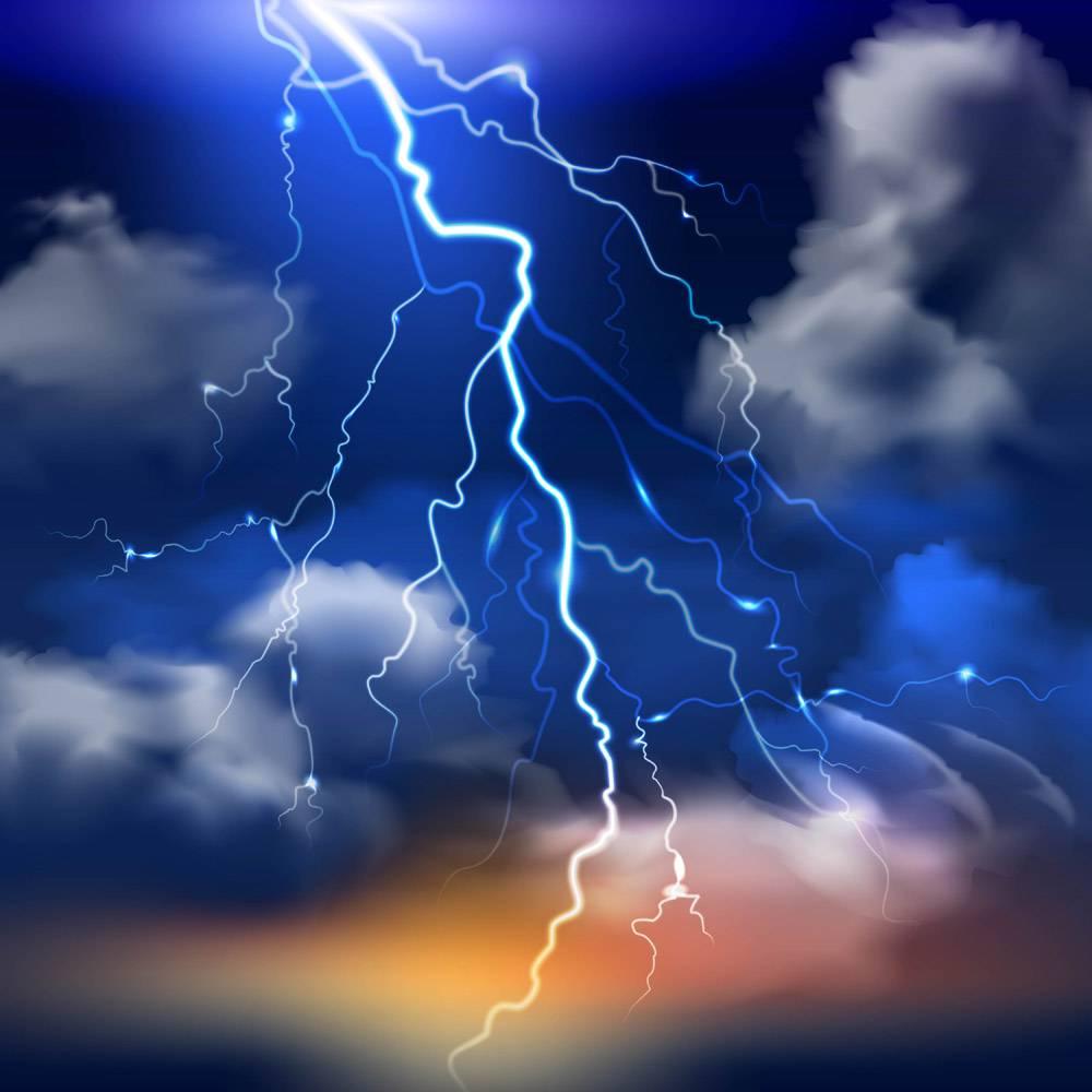 闪电和暴风雨的天空厚重的云彩逼真的背_2869215