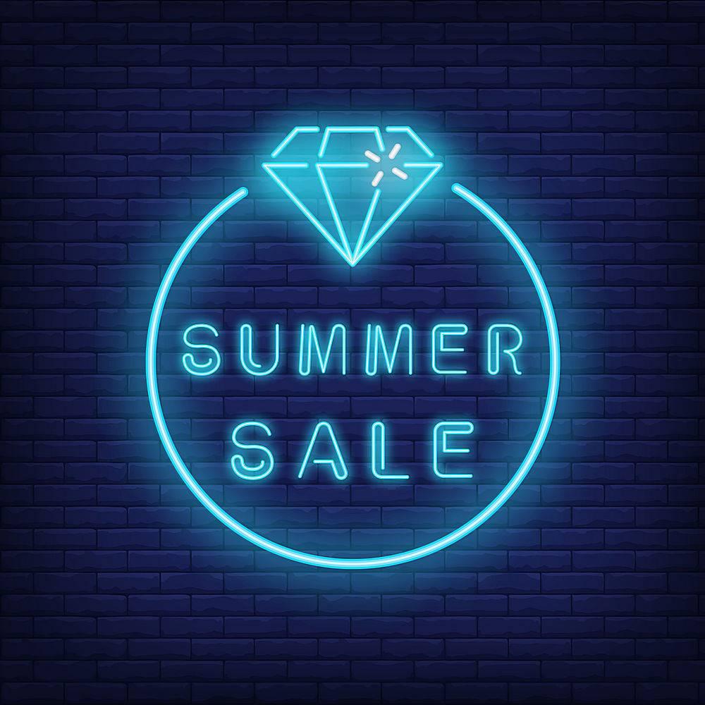 夏季大减价霓虹灯文字和钻石围成一圈季_2767084
