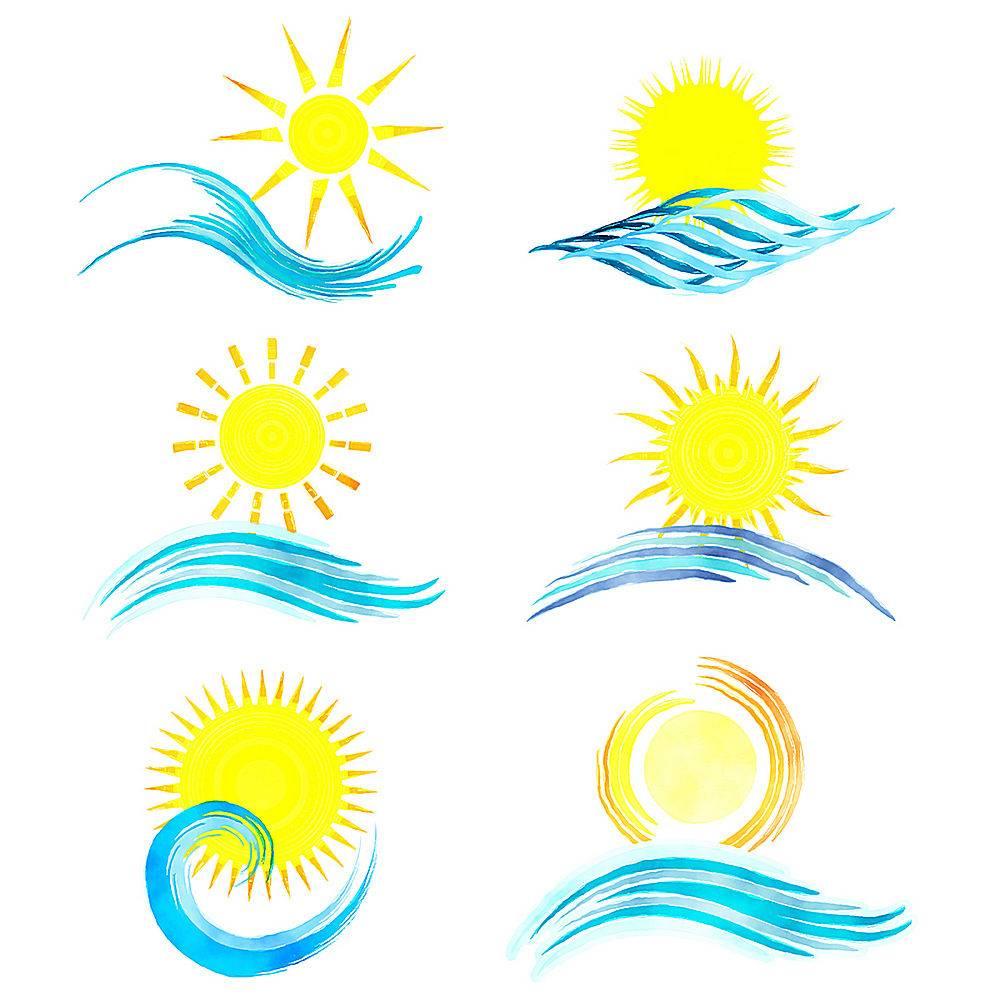 水彩画风格的夏季图标集合_851362