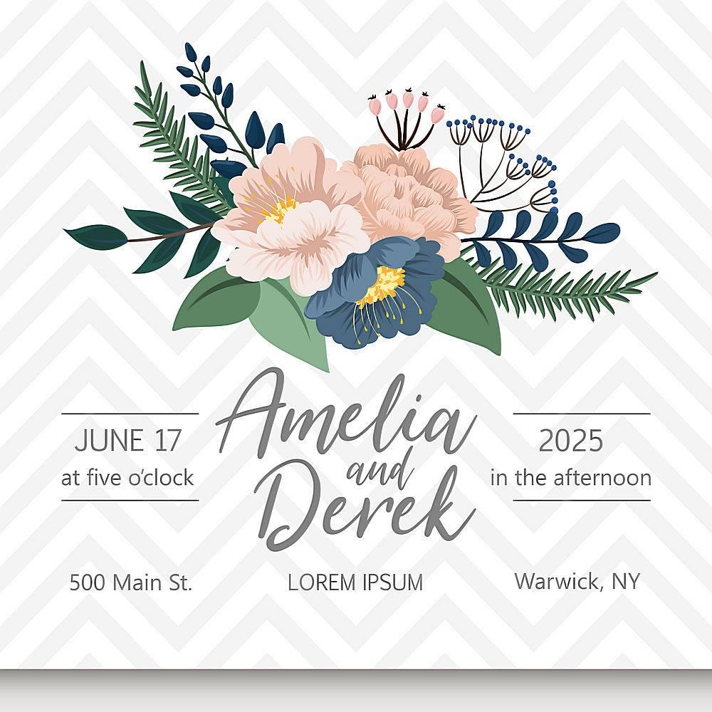 带鲜花的婚礼请柬套间_4250060