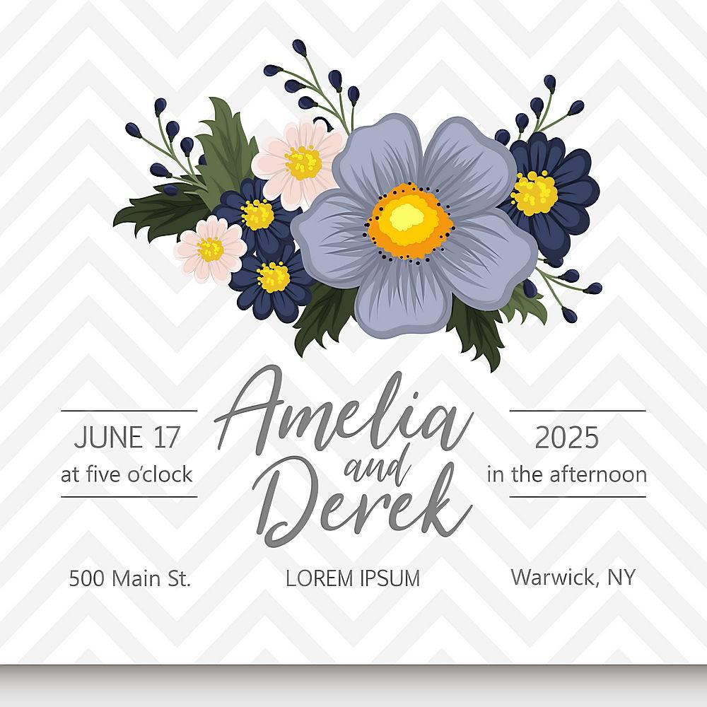 带鲜花的婚礼邀请卡套间模板矢量插图_4295160