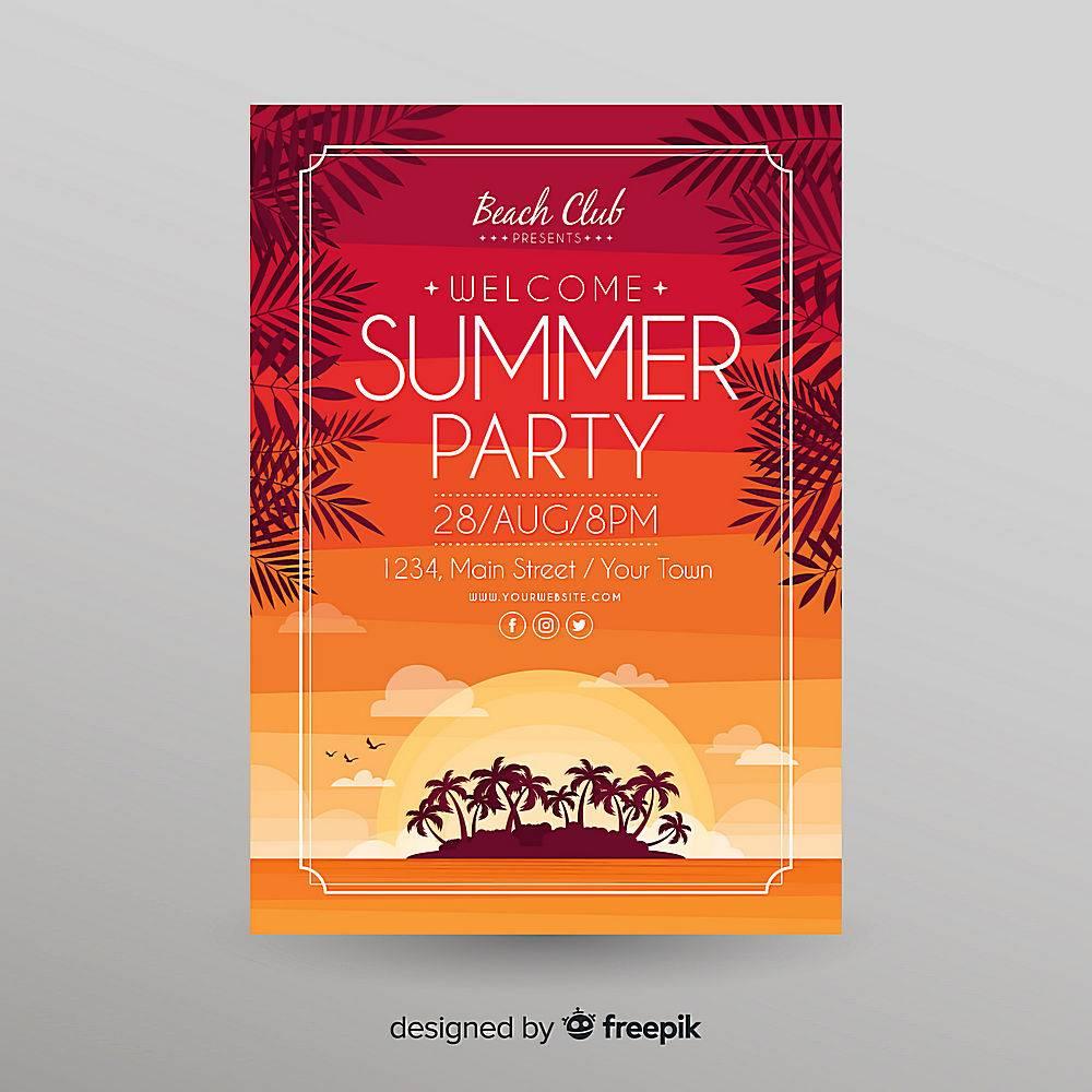 平坦的夏日派对海报模板_4832844