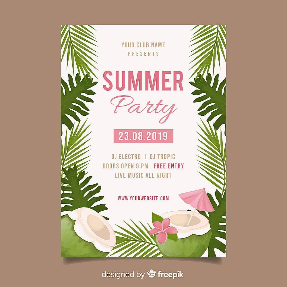 平坦的夏日派对海报模板_4921002