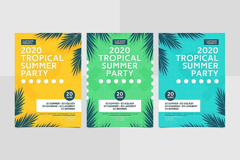 平面设计夏日派对海报模板_8354479