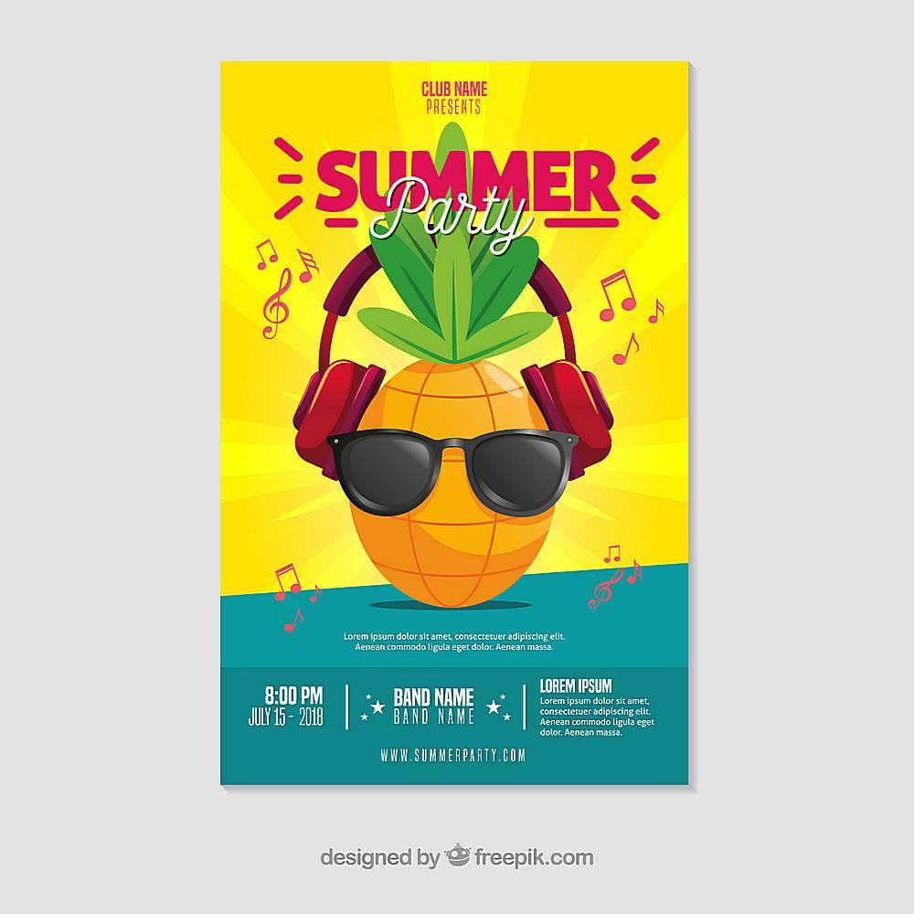平面设计的夏日派对海报模板_2362739