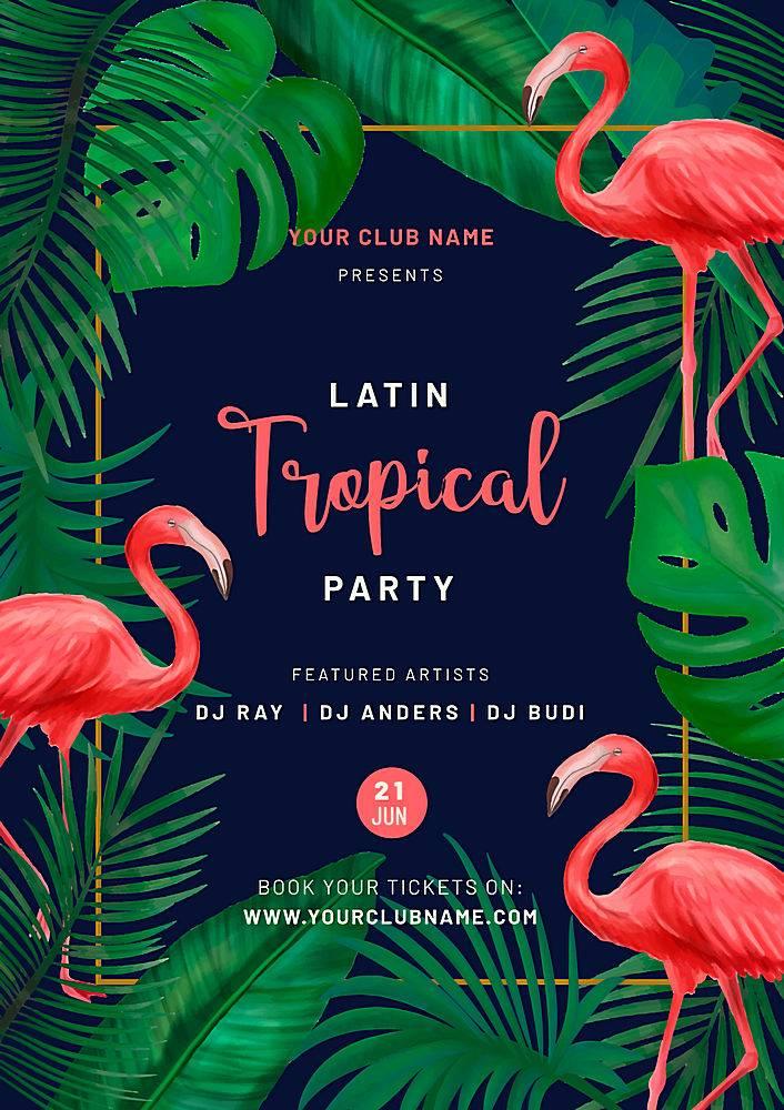 印有粉红色火烈鸟的热带派对海报_5371743