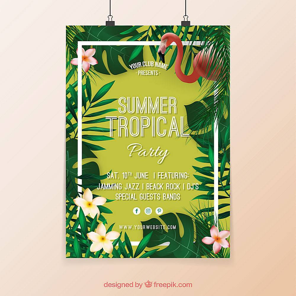 印有鲜花和弗拉明戈的热带派对海报_1134043