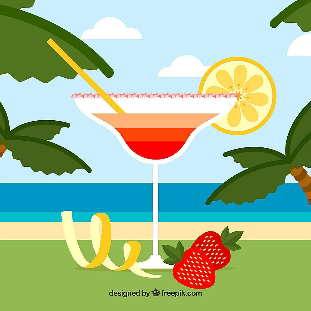 草莓鸡尾酒在平面设计中的背景_1167581