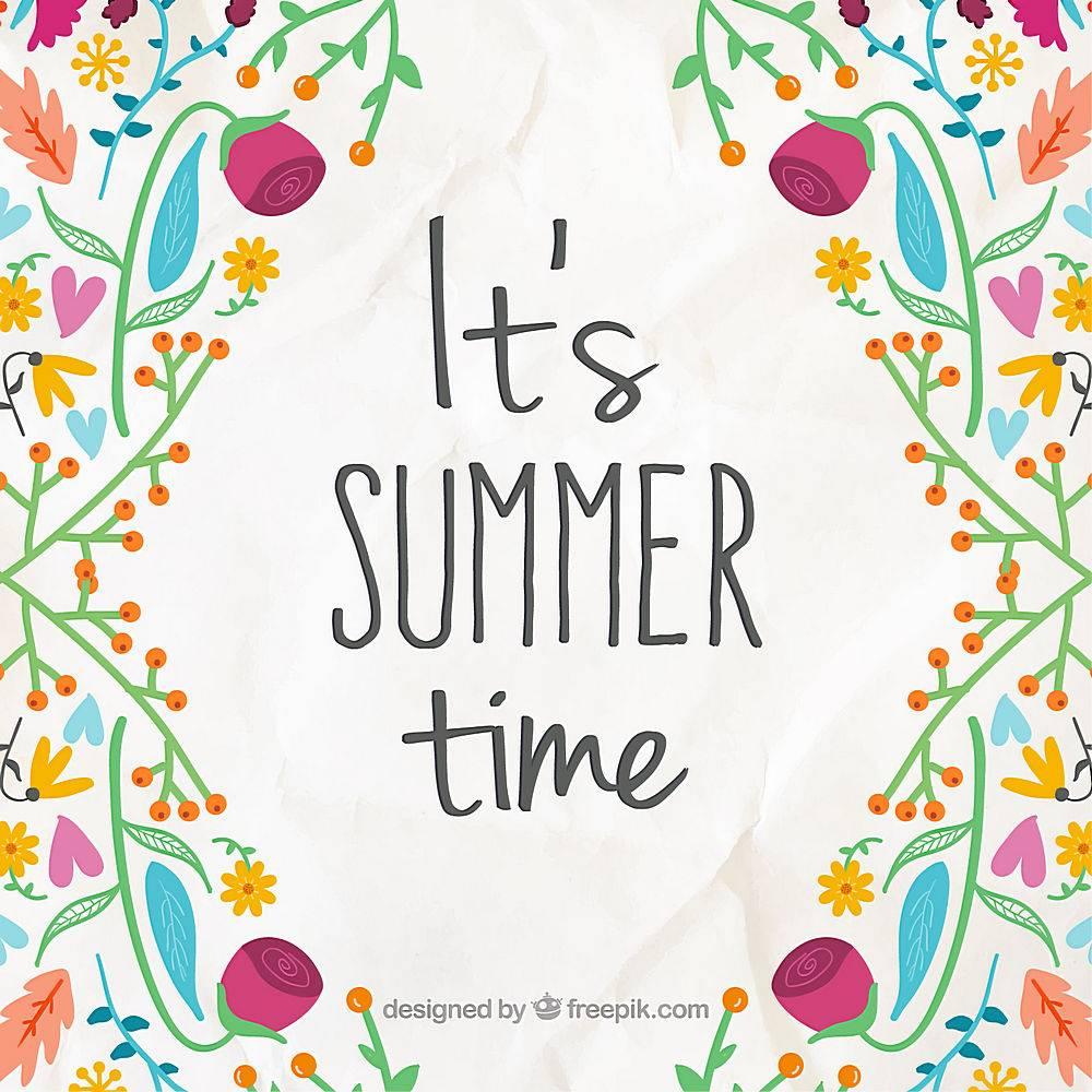 欢快的背景手绘的花朵和夏日的词句_894216