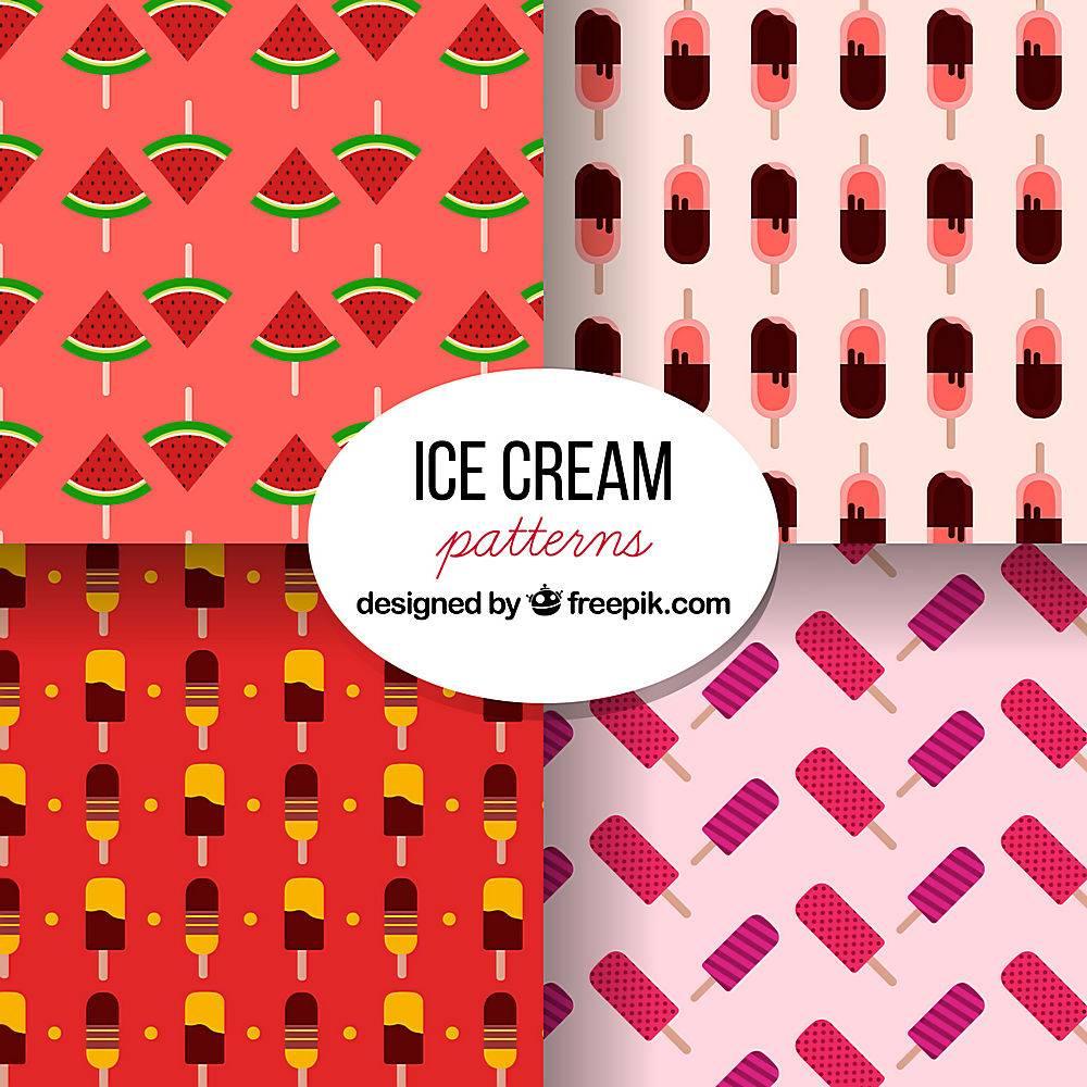 平面设计中带有冰淇淋的彩色图案_1134697