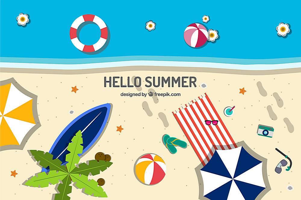 带有海滩景观和元素的夏季背景_2147117