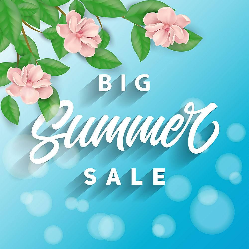 夏季特卖会以蓝色为背景粉红色的花朵_1148075