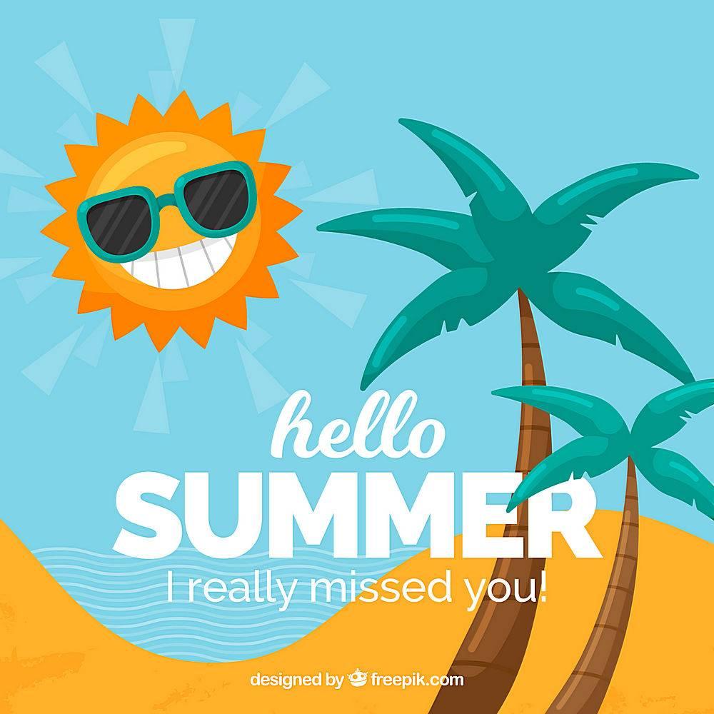 夏天的背景有阳光和棕榈树_2147121