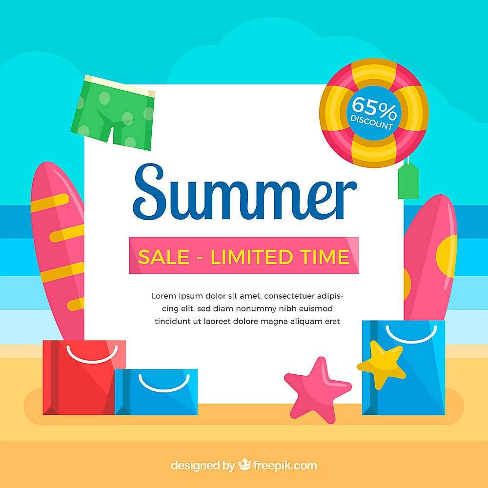 夏季促销背景带海滩_2154126