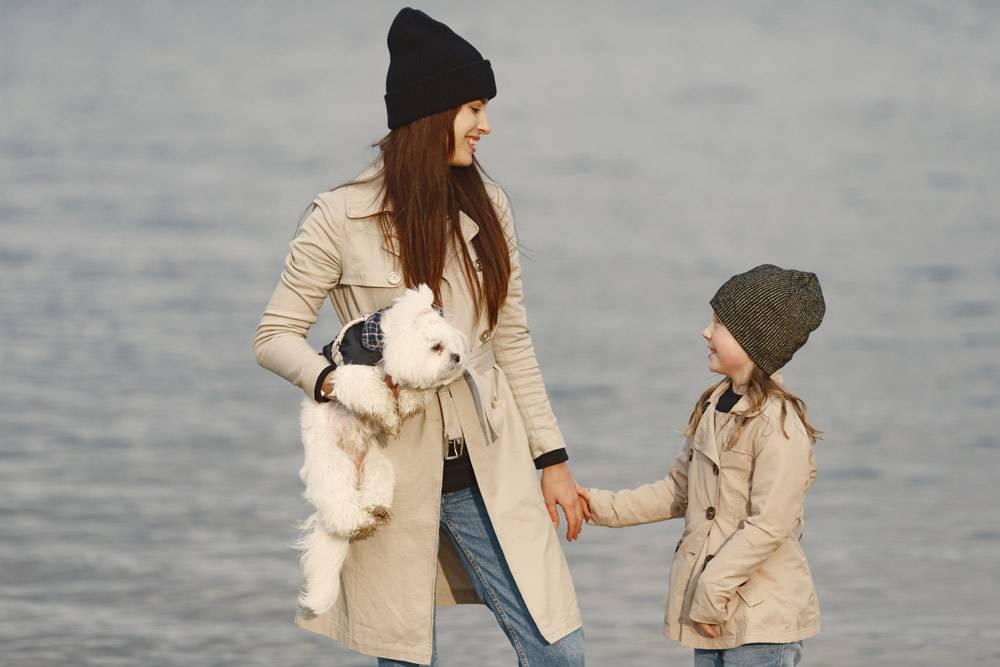 母亲和女儿在玩狗宠物家畜和生活方式概_11191388
