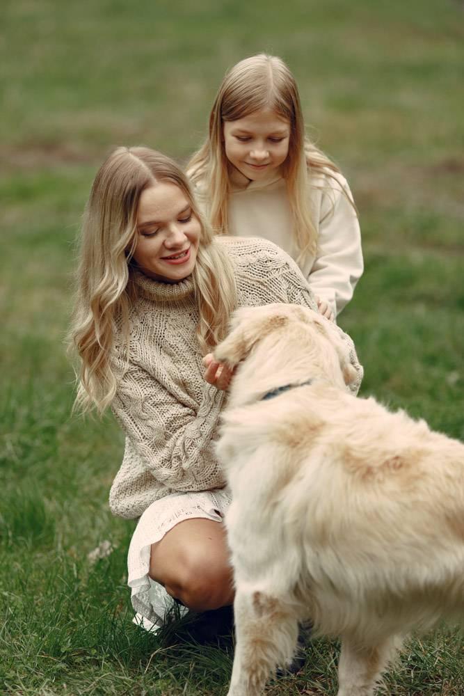 母亲和女儿在玩狗秋天公园的一家人宠物_11190985