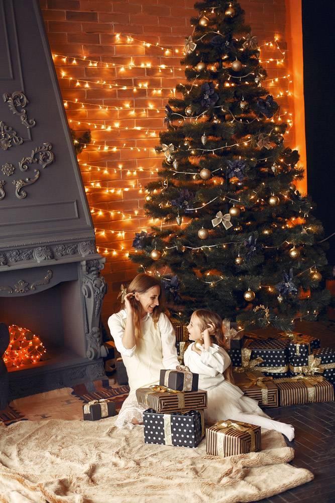 母亲带着可爱的女儿在家中靠近壁炉的地方_11243592