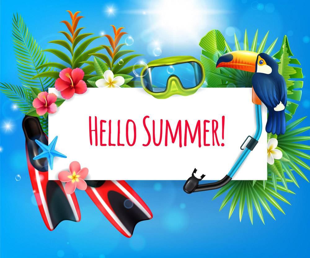 热带天堂暑假写实构图配有鳍状肢浮潜潜_6801350
