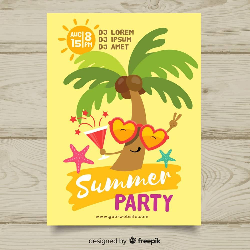 平坦的夏日派对海报模板_4751428