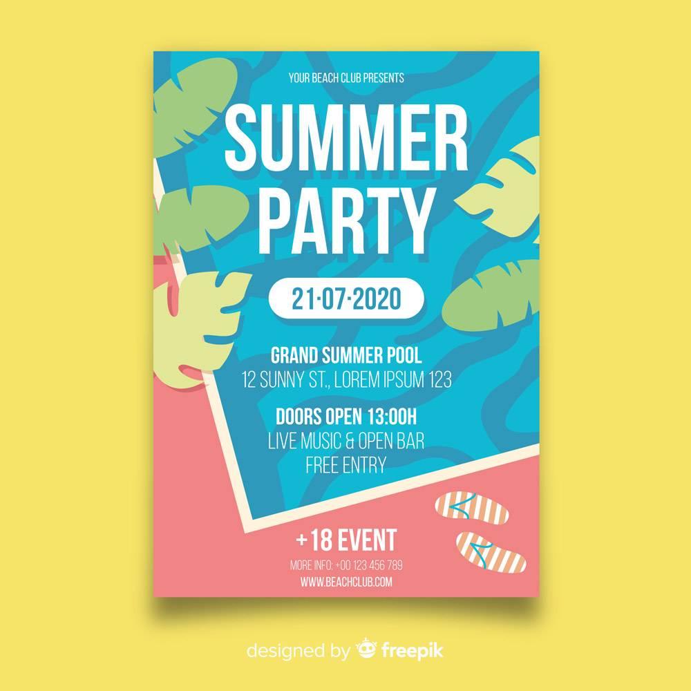 平坦的夏日派对海报模板_4921007