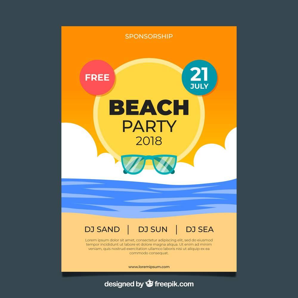 平面设计的夏日派对海报模板_2362738
