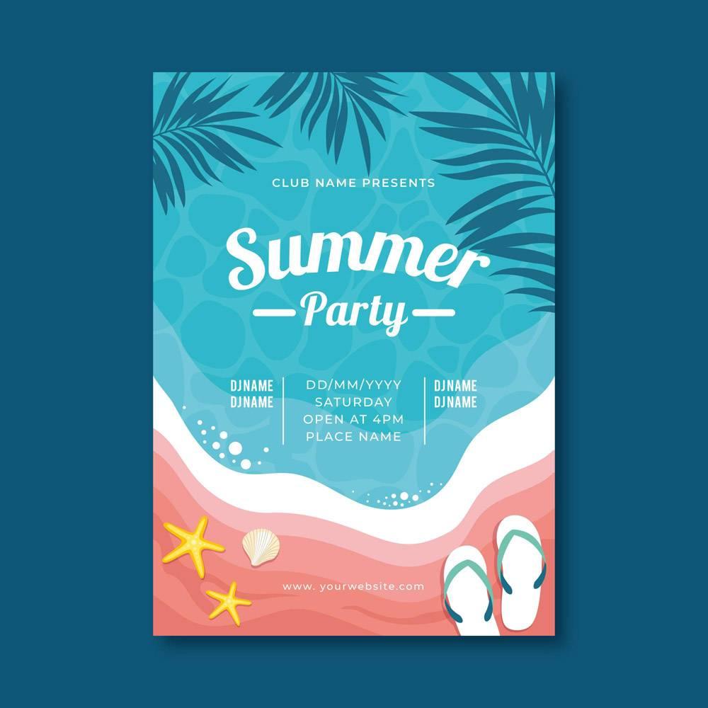 配有热带插图的夏日派对海报_8135374